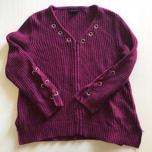 Lane Bryant Burgundy Knitted Chunky Sweater